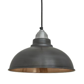 Old Factory Vintage Pendant Light - Dark Pewter and Copper - 12
