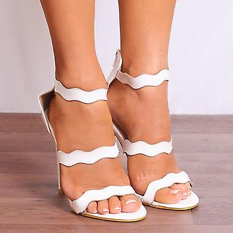 Shoe Closet White Strappy Heels - Ladies Ed43 White Pu Ankle Strap Stilettos Peep Toes Strappy Sandals High Heels