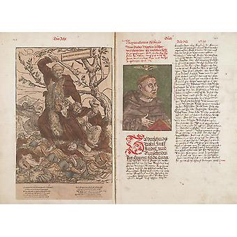 Hans The Younger - Luther as Hercules Germanicus Poster Print Giclee