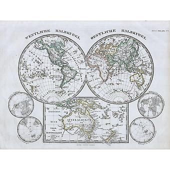 Map Of The World Hemisphere Stieler 1862 Poster Print Giclee