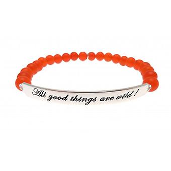 W.A.T 925 Sterling Silver 'All Good Things Are Wild' Neon Red Jade Quote Bracelet