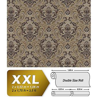 Baroque wallpaper EDEM 9063-36 non-woven wallpaper imprinted with ornaments shiny brown beige copper silver 10.65 m2