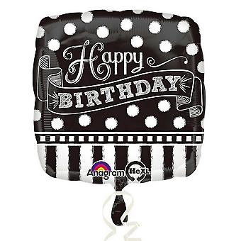 Anagram 18 Inch Polka Dot Chalkboard Design Foil Happy Birthday Balloon