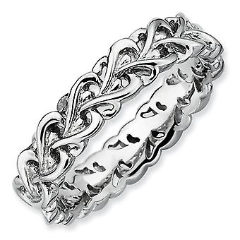 Sterling Silver Stackable Expressions Polished Intertwined Heart Ring - Ring Size: 5 to 10