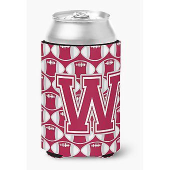 Letter W Football Crimson, grey and white Can or Bottle Hugger