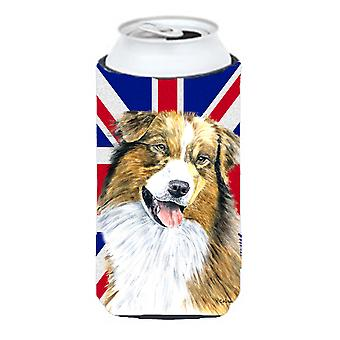 Australian Shepherd with English Union Jack British Flag Tall Boy Beverage Insul