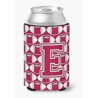 Letter E Football Crimson, grey and white Can or Bottle Hugger