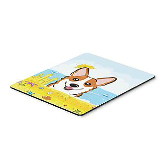 Red Corgi Summer Beach Mouse Pad, Hot Pad or Trivet