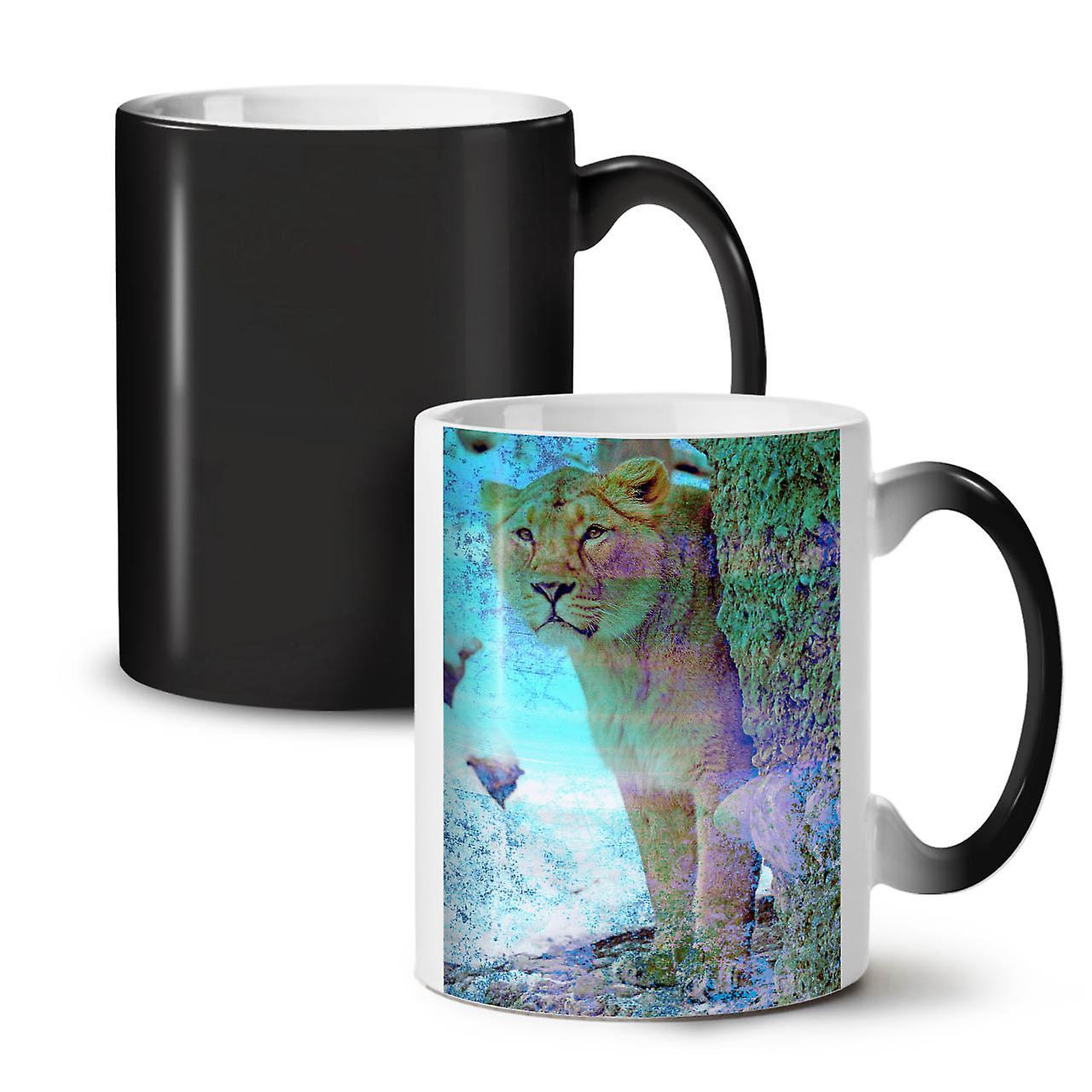 Sauvage Cat Tigre Tasse Thé OzWellcoda Nouveau Changeant Coloris 11 Noir Céramique Big Café A4L35Rj