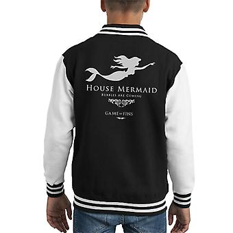 House Mermaid Bubbles Are Coming Game Of Thrones Kid's Varsity Jacket