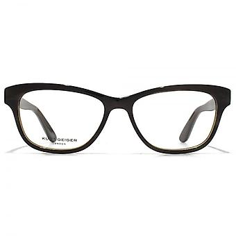 Kurt Geiger Eliza Preppy Soft Rectangular Acetate Glasses In Brown Charcoal