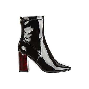 Truffle Collection Patent Boot With Detailed Block Heel