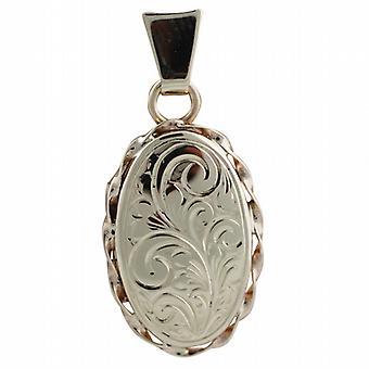 9ct розовое золото 20x13mm ручной гравировкой овал витая проволока края медальон