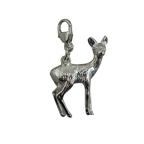 Silver 22x17mm deer charm on a lobster trigger