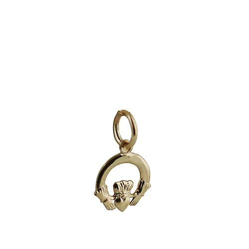9ct Gold-10x10mm Klar Claddagh Charm