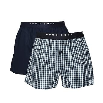 BOSS Bodywear Navy Two-Pack Plain & Check Cotton Boxer Briefs