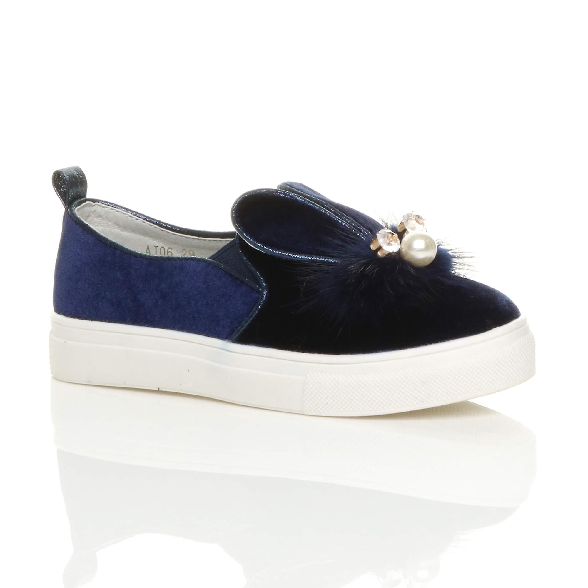 Ajvani girls flat gem diamante fur velvet bunny ears slip on pumps shoes plimsolls trainers