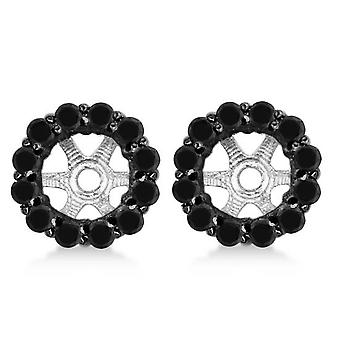 5/8ct Black Diamond Halo Earring Jackets 14K White Gold