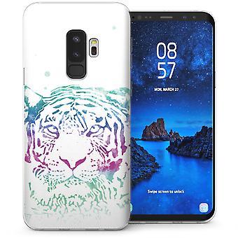 Samsung Galaxy S9 Plus Tiger Kunst Farbe Splash TPU Gel Case - lila