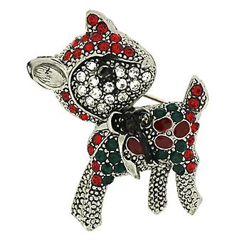 Brooches Store Red Green  and  Crystal Christmas Reindeer Brooch  Silver