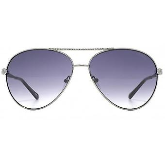 Guess Chain Temple Pilot Sunglasses In Shiny Gunmetal