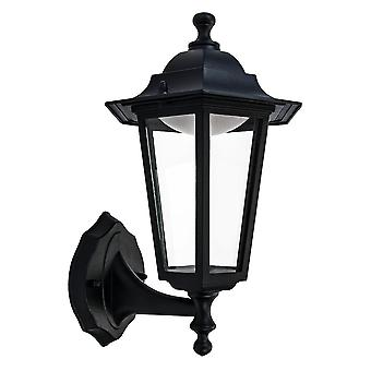 Traditional Matt Black LED Outdoor Lantern Wall Light Fitting with Clear Glass