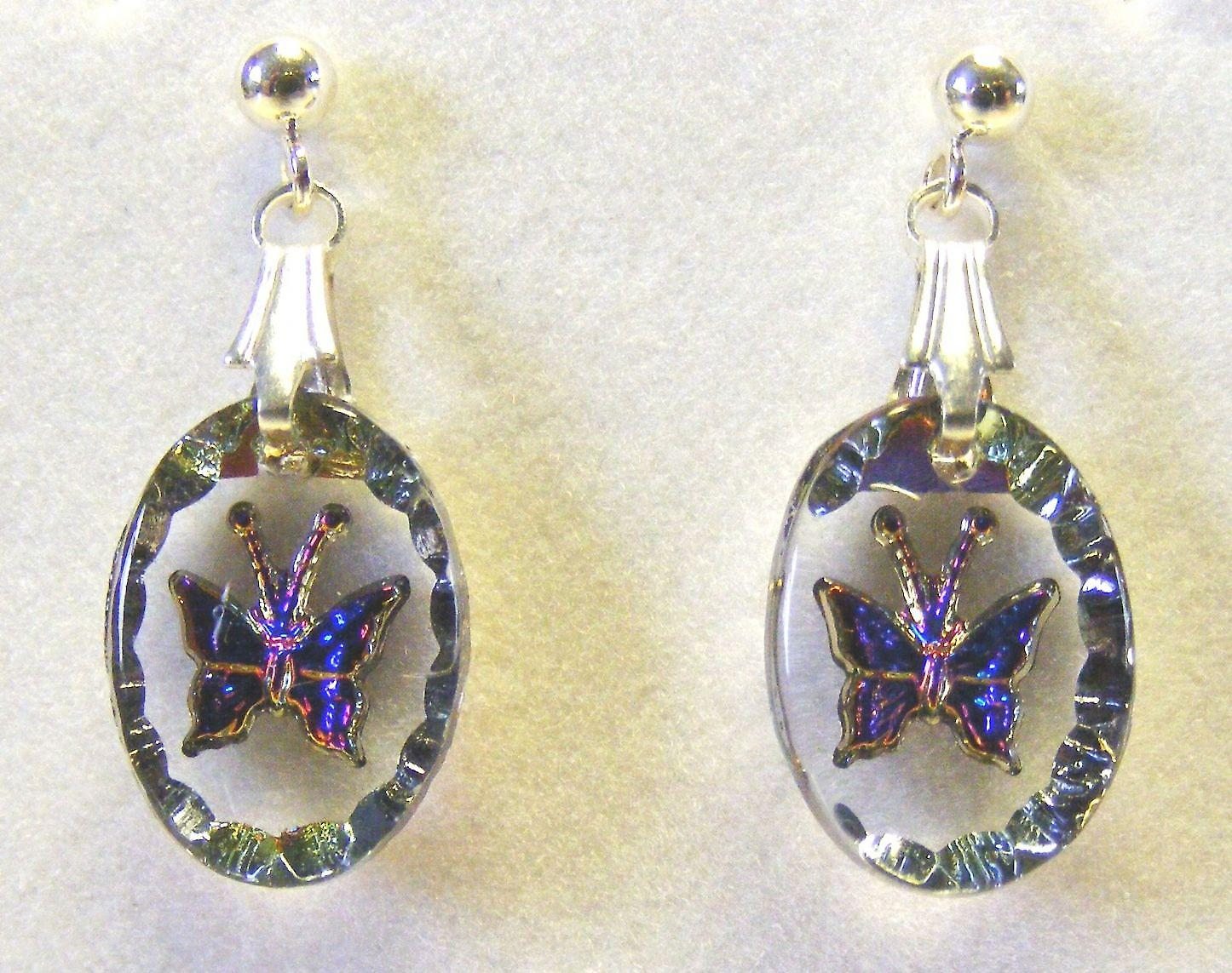 Heliotrope Butterfly Oval Earrings