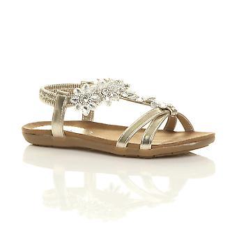 Ajvani womens plana acolchada confort t hebilla flor diamante sandalias