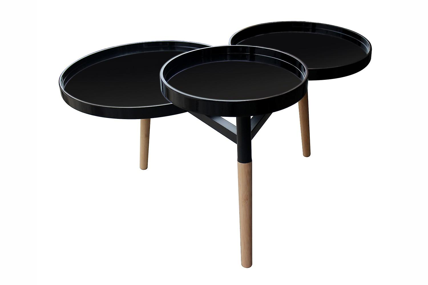 HANDMADE TABLES MDF WITH GLOSS COATING TRAY TABLE BAMBOO BLACK