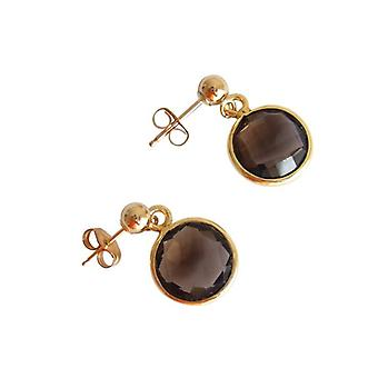Smoky quartz earrings gemstone earrings gold plated