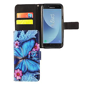 Mobile phone case pouch for mobile Samsung Galaxy J3 2017 blue butterfly