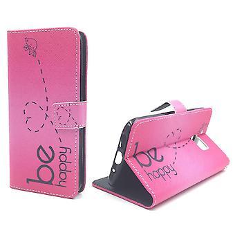 Handyhülle Tasche für Handy HTC 10 Be Happy Pink