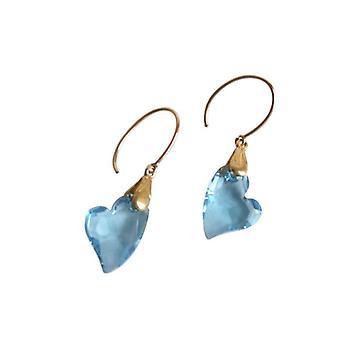 Heart Stud Earrings blue VERONICA heart earrings Crystal gold plated item