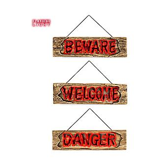 Halloween and horror  Pk  6 'FLASHING LIGHTS SIGNS' 45 cm - 3 styles assorted