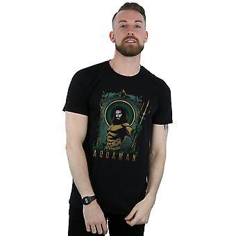DC Comics Men's Aquaman Framed Trident T-Shirt
