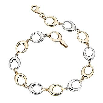 Elements Gold Cut Out Oval Link Bracelet - Gold/White Gold
