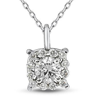 3/4ct Cushion Halo Diamond Pendant 14k White Gold & 18