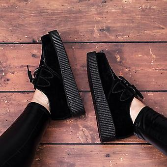 Spylovebuy Josephine Lace Up Flat Platform Creeper Sneaker Pumps - Black Suede Style