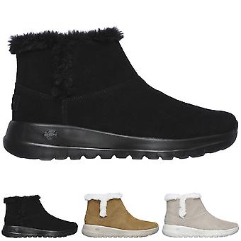 Womens Skechers On The Go Joy Bundle Up Suede Winter Faux Fur Ankle Boots