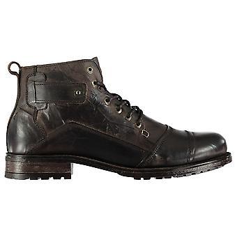 Firetrap Mens Webb Boots Smart Lace Up Slight Heel Textured