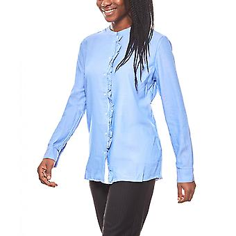 PART TWO simple women's mullet blouse Mandarin collar blue