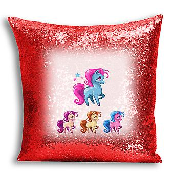 i-Tronixs - Unicorn Printed Design Red Sequin Cushion / Pillow Cover with Inserted Pillow for Home Decor - 11