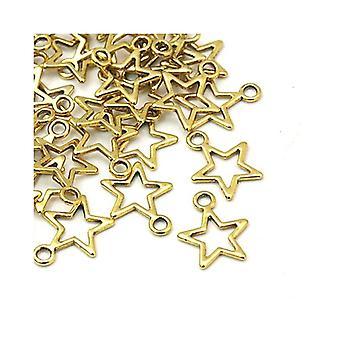 Pakke 30 x antikk gull tibetanske 15mm stjerne sjarm/anheng ZX07980