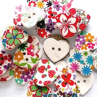 Pakke 10 x blandet tre 25mm hjertet 2-hullet mønstret sy i knapper HA09795