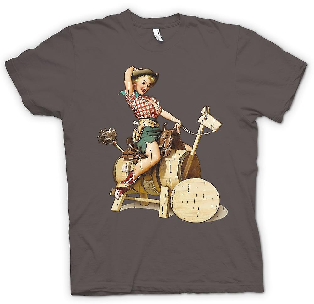 Retrò - Vintage mucca ragazza Pin Up - mens t-shirt