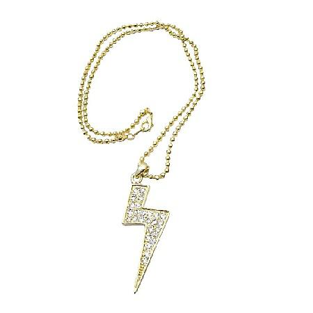 Gold Lightning Pendant Cubic Zircon Fully Embedded Shimmering Choker