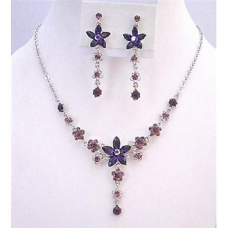 Amethyst Crystals Light & Dark Necklace Set Flower Design Jewelry Set