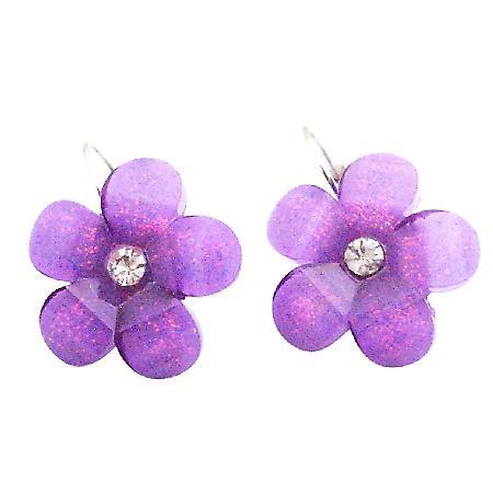 Cute Flower Dangling Earrings Purple Shinning Summerish Earrings Gift