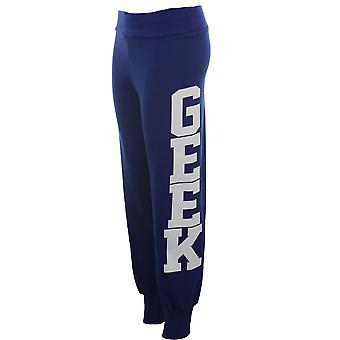 Ladies Geek Print Trousers Tracksuit Bottoms Jogging Pants Women's Joggers