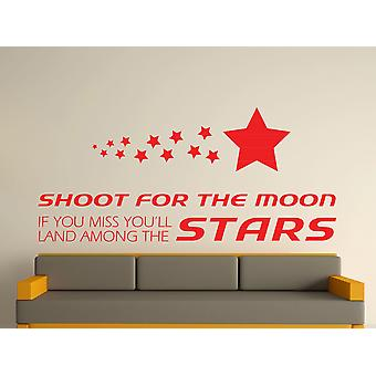 Shoot For The Moon Wall Art Sticker - Tomato Red